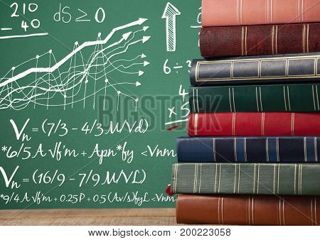 Digital composite of Books on Desk foreground with blackboard graphics of math formulas