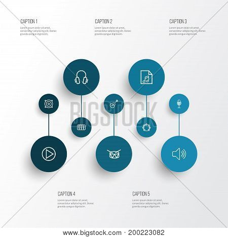 Multimedia Outline Icons Set. Collection Of Circle, Amplifier, Strings And Other Elements