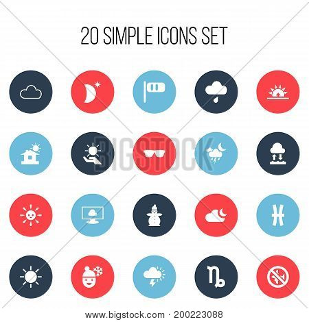 Set Of 20 Editable Weather Icons. Includes Symbols Such As No Flight, Eyeglasses, Solar And More