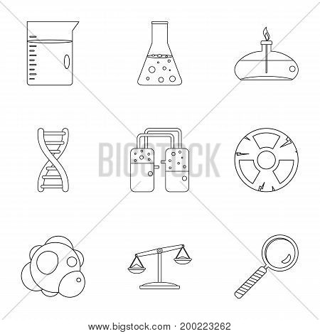 Chemical icon set. Outline style set of 9 chemical vector icons for web isolated on white background