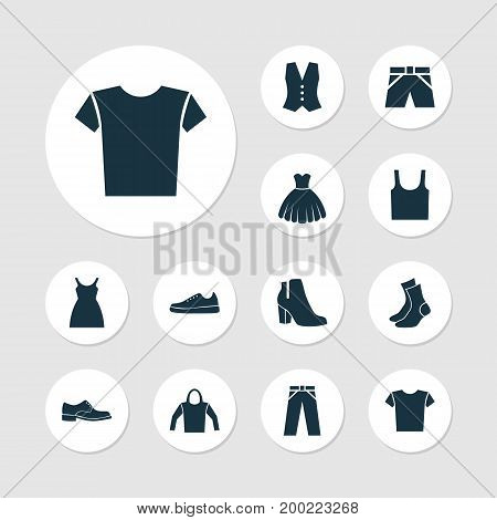 Dress Icons Set. Collection Of Female Winter Shoes, Sweatshirt, Sneakers And Other Elements