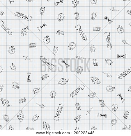 Time freehand drawings seamless pattern. Clocks pattern in doodle style. Hand drawn elements doodles design for wallpapers, wrapping, backgrounds. Vector illustration. Clock, hourglass, stopwatch.