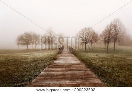 Lonely footbridge in a foogy day in Alava