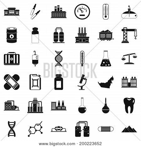 Chemical factory icons set. Simple style of 36 chemical factory vector icons for web isolated on white background