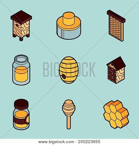 Honey flat outline isometric icons. Vector illustration, EPS 10
