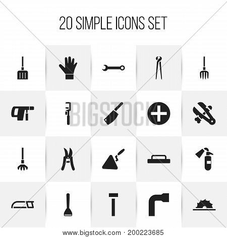 Set Of 20 Editable Apparatus Icons. Includes Symbols Such As Spanner, Spanner, Spatula And More