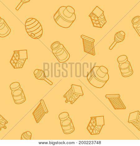 Honey flat outline isometric pattern. Vector illustration, EPS 10