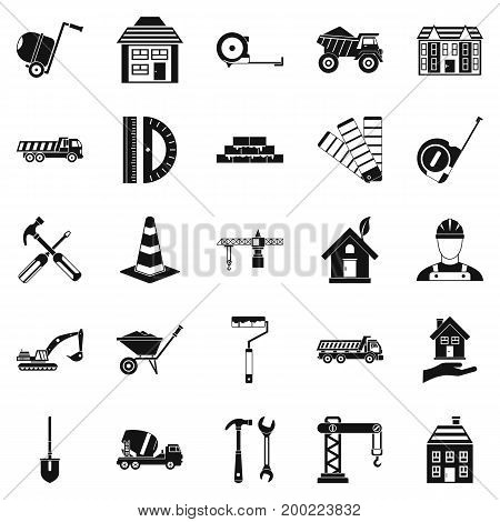 Erection icons set. Simple set of 25 erection vector icons for web isolated on white background