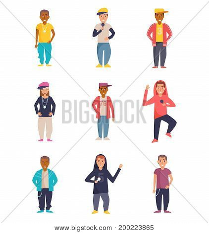 Set with rappers. Vector. Cartoon. Isolated art on white background. Flat