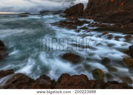 Waves and foam in the Cantabrico sea in Bermeo