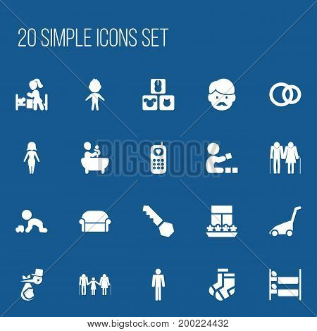 Set Of 20 Editable Kin Icons. Includes Symbols Such As Tub, Family, Hoop And More