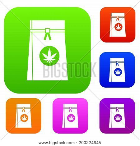 Bag with cannabis set icon in different colors isolated vector illustration. Premium collection