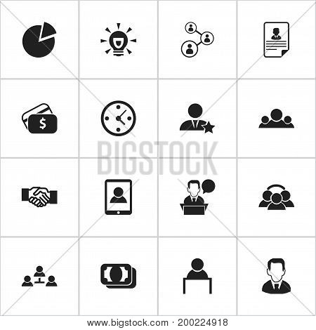 Set Of 16 Editable Trade Icons. Includes Symbols Such As Smartphone, Partnership, Clock And More