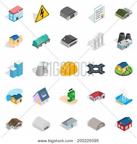 Construct icons set. Isometric set of 25 construct vector icons for web isolated on white background