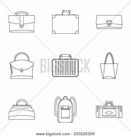Bags and suitcases icon set. Outline style set of 9 bags and suitcases vector icons for web isolated on white background