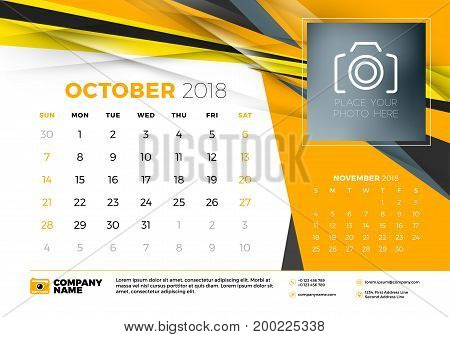 October 2018. Desk Calendar Design Template With Abstract Background. Place For Photo. Yellow And Bl