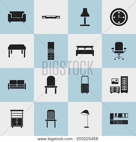 Set Of 16 Editable Furnishings Icons. Includes Symbols Such As Cabinet, Cooking Furnishings, Illuminant And More