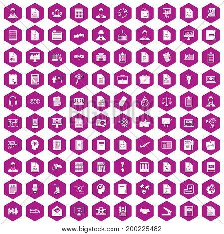 100 work paper icons set in violet hexagon isolated vector illustration