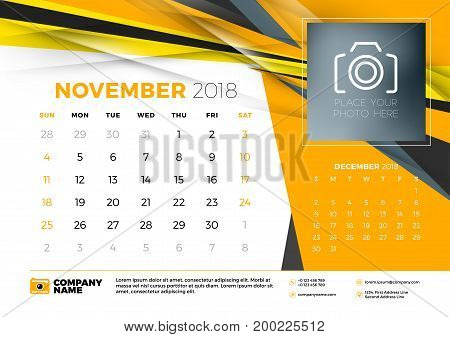 November 2018. Desk Calendar Design Template With Abstract Background. Place For Photo. Yellow And B