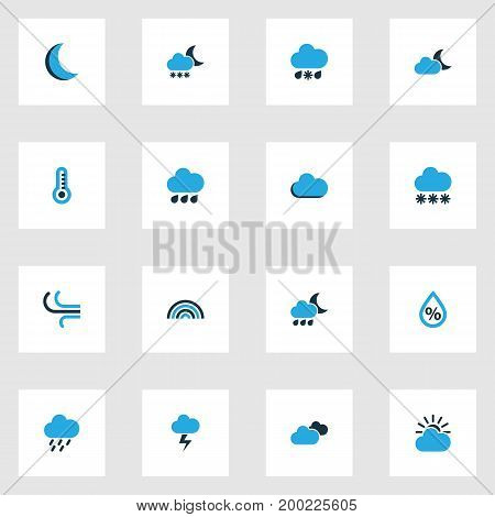 Air Colorful Icons Set. Collection Of Rainstorm, Fog, Thermometer And Other Elements