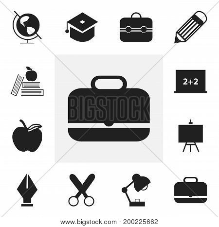 Set Of 12 Editable Knowledge Icons. Includes Symbols Such As Trunk, Writing Board, Earth Planet And More