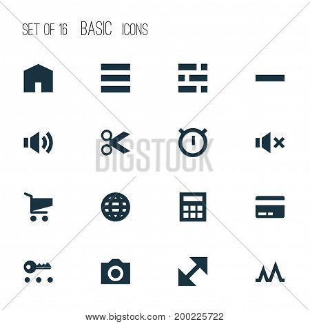 Interface Icons Set. Collection Of Minus, Statistic, Silence And Other Elements