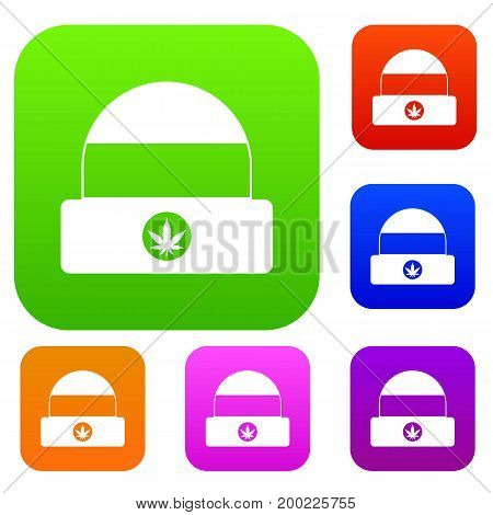 Hat with sign cannabis set icon in different colors isolated vector illustration. Premium collection