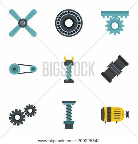 Auto parts icon set. Flat style set of 9 auto parts vector icons for web isolated on white background