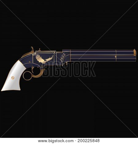 Ancient revolver of the nineteenth century, with gold engraving