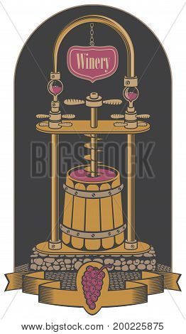 Vector illustration on the theme of the winery. Traditional production of red wine using a press in a wooden barrel in retro style