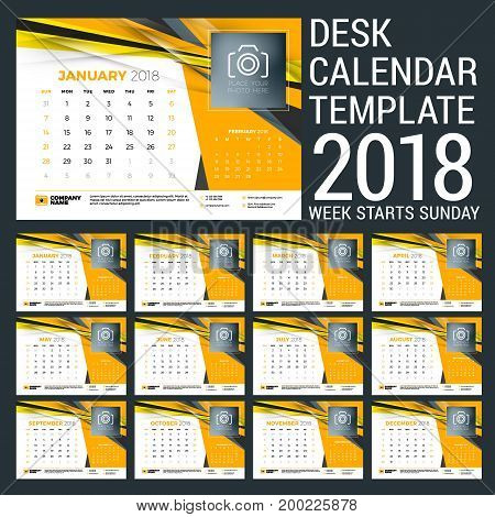 Calendar set for 2018 year. Design template with abstract background. Place for photo. Yellow and black colors. Two months on the page. Week starts on Sunday. Vector Illustration