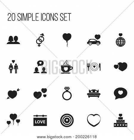 Set Of 20 Editable Heart Icons. Includes Symbols Such As Family, Romantic, Banner And More