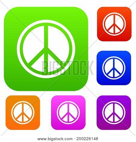 Sign hippie peace set icon in different colors isolated vector illustration. Premium collection