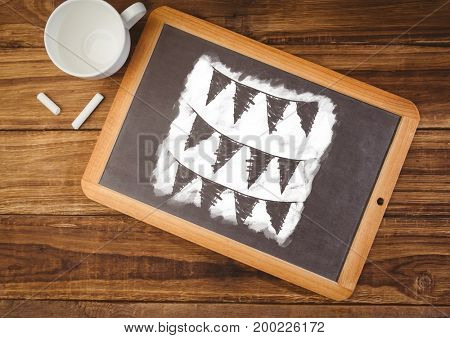 Digital composite of flags on blackboard with coffee