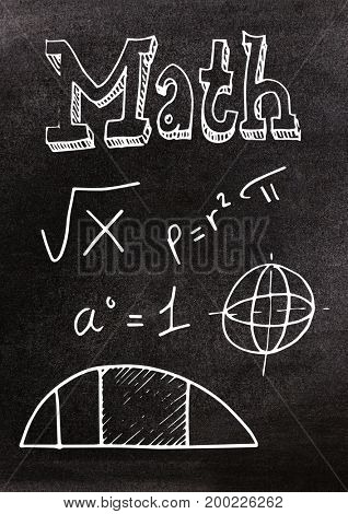 Digital composite of Math doodles on blackboard