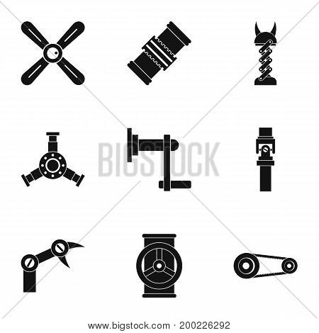 Auto parts icon set. Simple style set of 9 auto parts vector icons for web isolated on white background