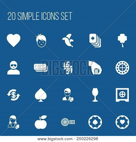 Set Of 20 Editable Game Icons. Includes Symbols Such As Casino Chip, Fortune, Boy And More