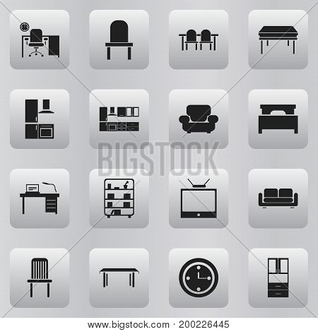 Set Of 16 Editable Interior Icons. Includes Symbols Such As Seat, Cooking Furnishings, Trestle And More
