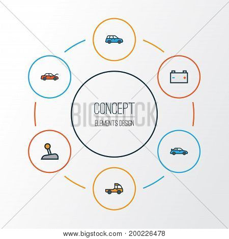 Car Colorful Outline Icons Set. Collection Of Level, Cabriolet, Pickup And Other Elements