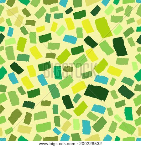Abstract endless geometrical background. Spring, eco colors. Mosaic or inlay seamless vector pattern. Shades of green. Tiny polygon pieces. Ceramic tile stylization fabric.