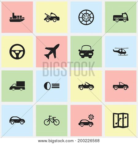 Set Of 16 Editable Transport Icons. Includes Symbols Such As Garage, Bogie, Drophead Coupe And More