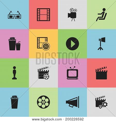 Set Of 16 Editable Movie Icons. Includes Symbols Such As Movie Action, Studio Light, Loudspeaker And More