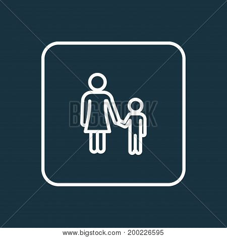 Premium Quality Isolated Mother Element In Trendy Style.  Child Outline Symbol.