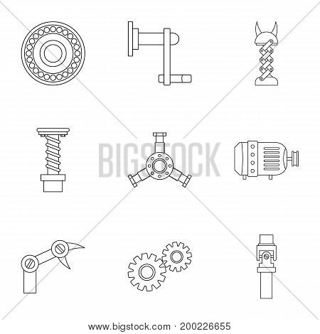 Mechanism icon set. Outline style set of 9 mechanism vector icons for web isolated on white background