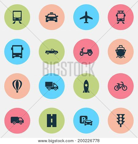 Shipment Icons Set. Collection Of Aircraft, Road Sign, Cab And Other Elements