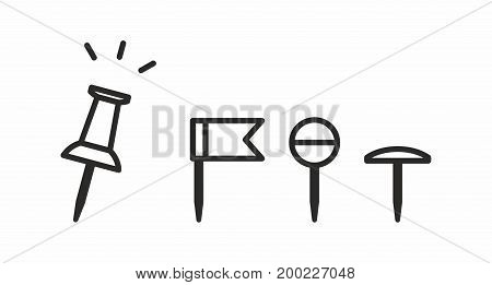 Push pin line icon on white background. Vector illustration.
