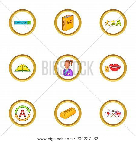 Language study icons set. Cartoon illustration of 9 language study vector icons for web design