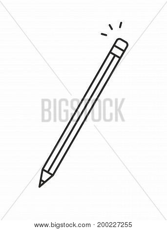 Pencil line icon on white background. Vector illustration.