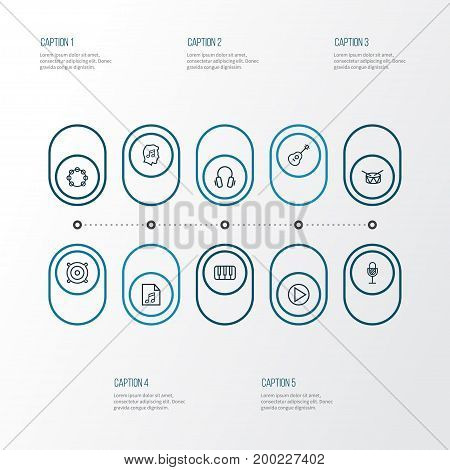 Audio Outline Icons Set. Collection Of Timbrel, Cover, Keys And Other Elements