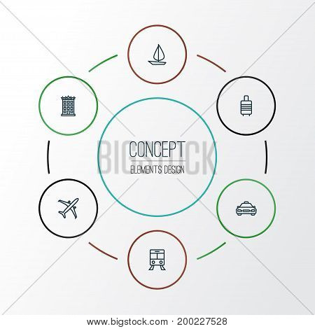 Traveling Outline Icons Set. Collection Of Taxi, Ship, Building And Other Elements
